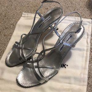 Manolo Blahnik Silver Strappy Heels EUC w/Bag